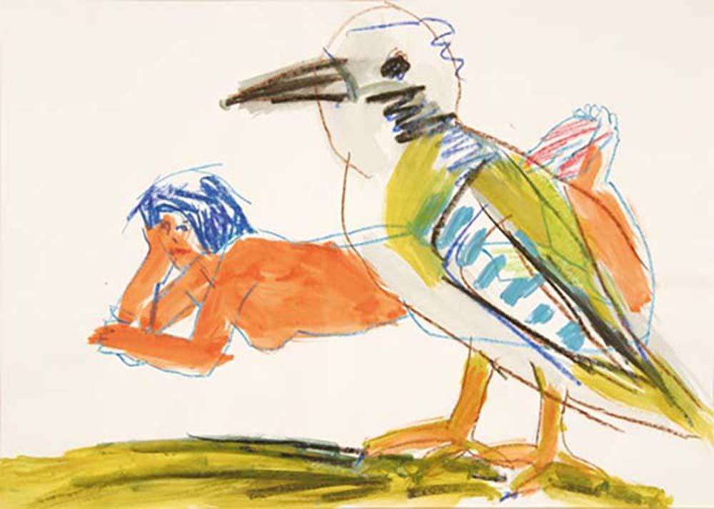 Akt mit Vogel